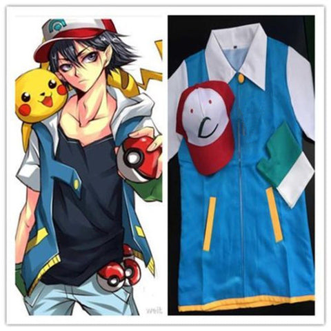 Pokemon Ash Ketchum Trainer Costume Cosplay Jacket + Gloves + Hat Ash Ketchum Costume - Hespirides Gifts - 1