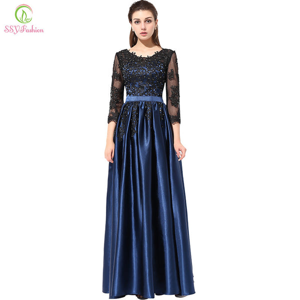 SSYFashion Hot Long Evening Dress Blue with Black Lace Embroidery 3/4 Sleeved Banquet Mother of The Bride Dresses Robe De Soiree