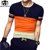 Plus Size 5XL Summer T shirt Homme O-Neck Cotton Men T shirt  Slim Fit Short-sleeve Camisetas Patchwork Men Clothing MT528