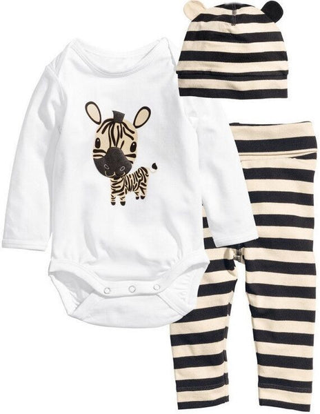 Spring Style Baby Rompers Long Sleeve Cotton Baby Infant Cartoon Animal Newborn Baby Clothes (romper+hat+pants) Clothing Set - Hespirides Gifts - 13