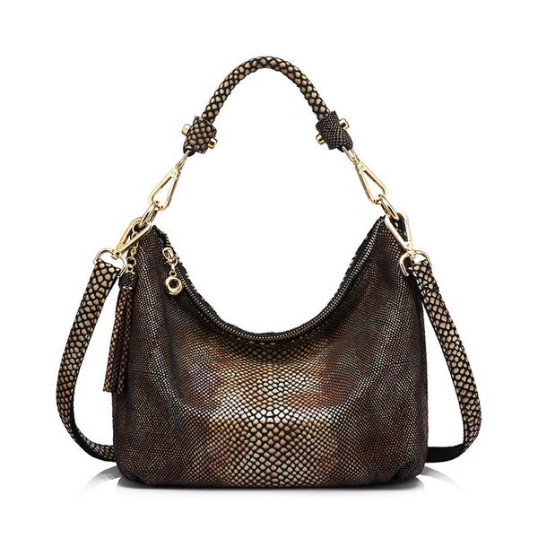 REALER brand genuine leather handbag women hobos bag female gold python pattern shoulder bag ladies messenger bag with tassel