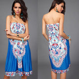New 2016 Women Sexy Vintage Summer Print Boho Style Off The Shoulder Sleeveless Strapless Party Dress Plus Size - Hespirides Gifts - 1