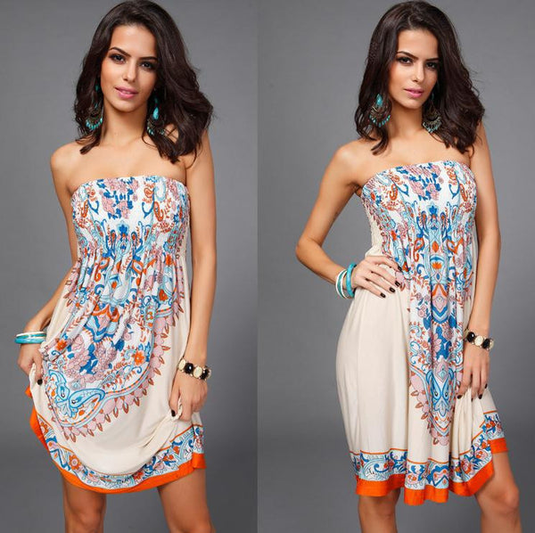 New 2016 Women Sexy Vintage Summer Print Boho Style Off The Shoulder Sleeveless Strapless Party Dress Plus Size - Hespirides Gifts - 2