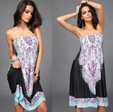 New 2016 Women Sexy Vintage Summer Print Boho Style Off The Shoulder Sleeveless Strapless Party Dress Plus Size - Hespirides Gifts - 6