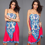 New 2016 Women Sexy Vintage Summer Print Boho Style Off The Shoulder Sleeveless Strapless Party Dress Plus Size - Hespirides Gifts - 4