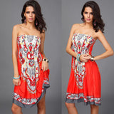 New 2016 Women Sexy Vintage Summer Print Boho Style Off The Shoulder Sleeveless Strapless Party Dress Plus Size - Hespirides Gifts - 5