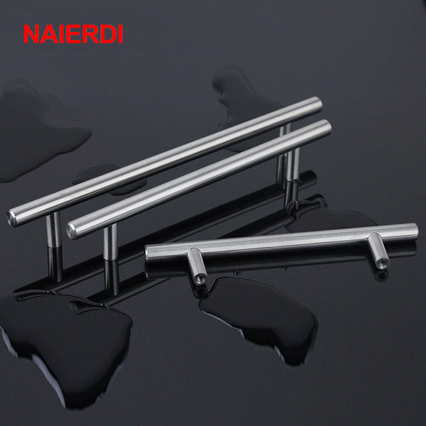 "NAIERDI 4"" ~ 24'' Stainless Steel Handles Diameter 10mm Kitchen Door Cabinet T Bar Straight Handle Pull Knobs Furniture Hardware"