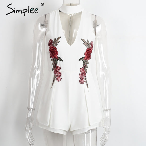 Simplee Halter elegant jumpsuit romper 2016 christmas Hollow out embroidery playsuit for women deep v overalls short leotard