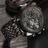 Oulm Luxury Brand Men Full Steel Watch Golden Big Size Antique Male Casual Watches Military Wristwatch Relogio Masculino - Hespirides Gifts - 2
