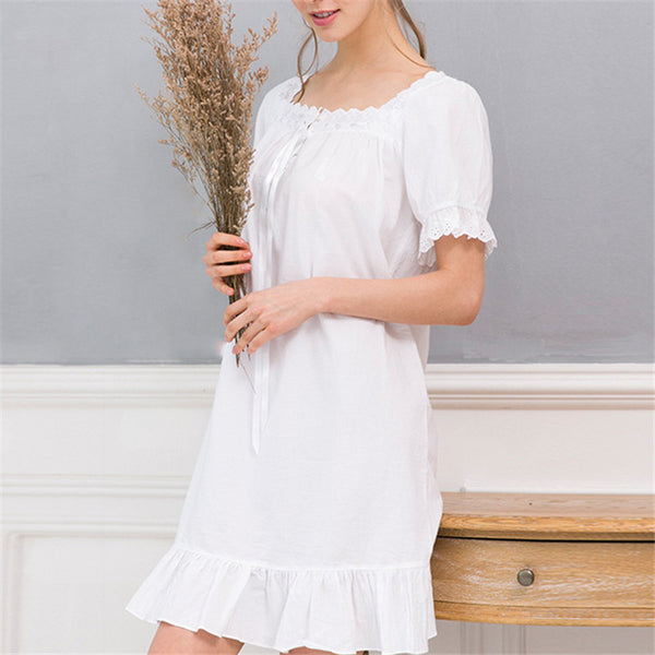 New Arrivals Elegant Nightgowns Sleepshirts Indoor Clothing Comfortable Sleep Shirts Sexy Home Dress Lace Nightgown Female #H116