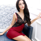 Lisacmvpnel Blackless Lace Sexy Women Nightgown+G-String Set Soft Yarn Spaghetti Strap Deep V Patchwork Nightdress