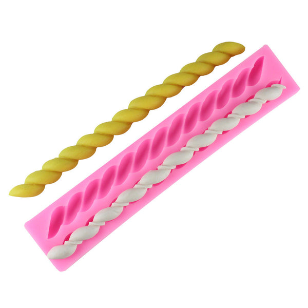 Bread Stick Long Spiral Shape Silicone Mold Fondant Cake Chocolate Kitchen Baking Tool Candy Sugar Jelly Pudding Decor 50-204