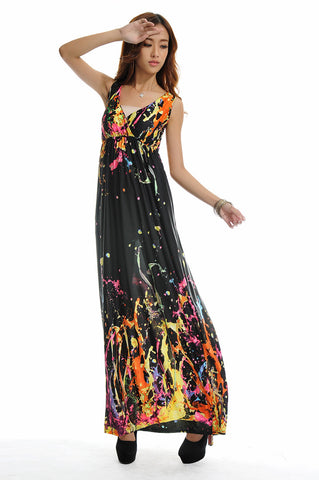 New boho dress to party watercolor women dress bohemian Long Beach Dress sexy plus size print praia maxi dress 2xl-5xl - Hespirides Gifts - 1
