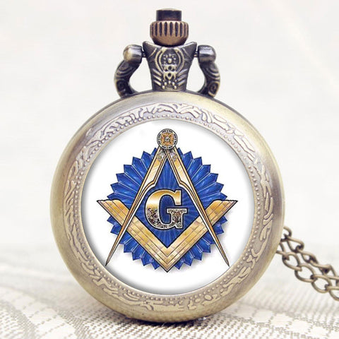 Masonic -Mason masonry Design Antique Bronze Fob Pocket Watch With Chain Necklace Best Gift P1152 - Hespirides Gifts - 1