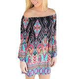 Bohemian Elegant Women Summer Dress Off Shoulder Beach Tunic Dresses Sundress European Style Sexy Vestidos De Festa Ropa Mujer