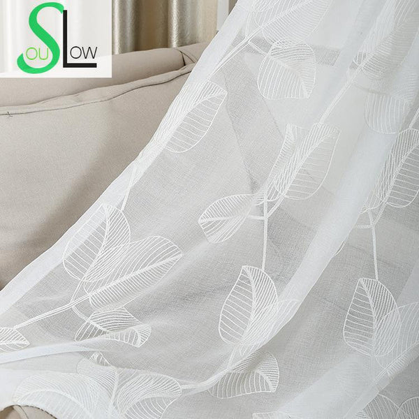 Broad leaved Yarn Selling Woven Exquisite Embroidery Curtain Modern Technology Special French Window Tulle Curtains White