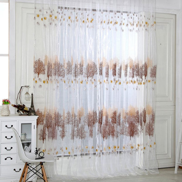 Printed Curtains High Quality Sheer Voile Curtains for Bedroom Rod Style Modern Living Room Decrations