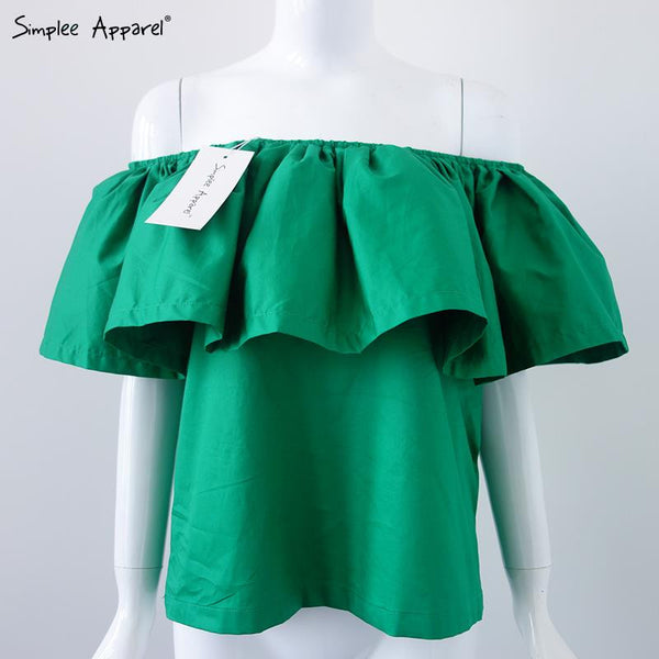 Top Quality Sexy off shoulder women blouse shirt Summer style crop tops slash neck ruffles party tops tees Girls beach tube top - Hespirides Gifts - 3