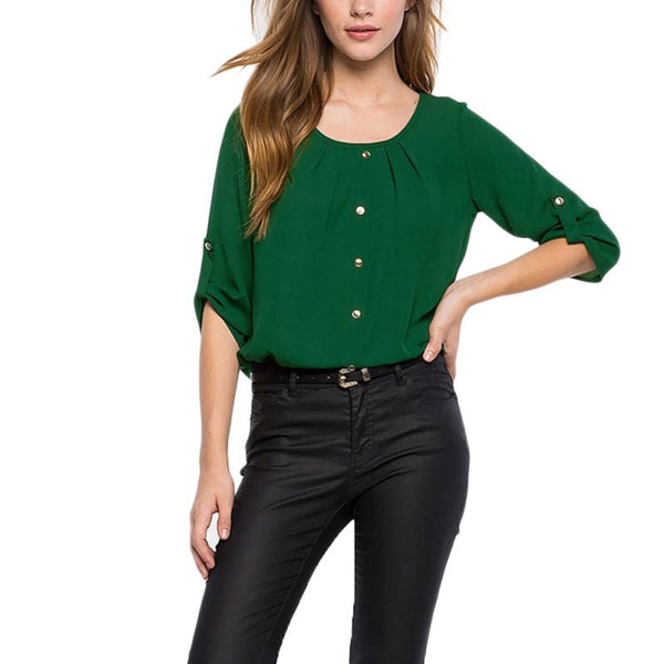Summer Casual Office Women Chiffon Shirts Ladies Round Neck Long Sleeve Blouse