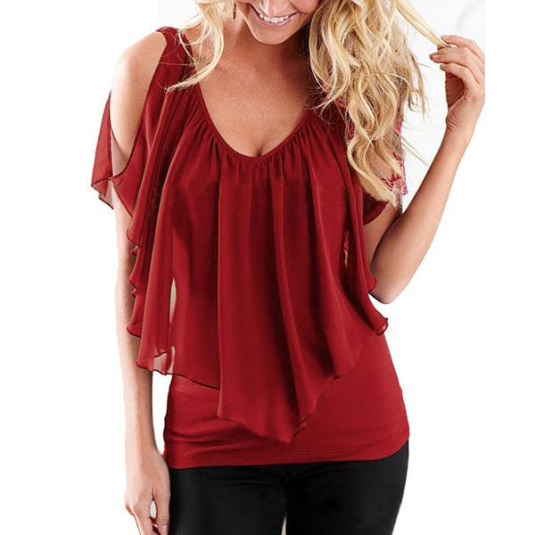 ZANZEA Women 2016 Summer Blusas Sexy Off Shoulder V Neck Splicing Chiffon Solid Blouses Shirts Fashion Plus Size Tee Tops