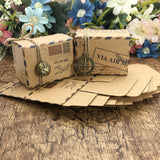 Wedding Gift Boxes 25 pcs Kraft Travel Theme Air Mail Wedding Favor Gift Box Candy Box Festive Party Supplies caja de regalo
