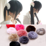 NEW 2016 Korean Cute Trendy Warm Soft Fake Rabbit Fur Woman Elastic Hair Rope Bands Girls Hair Accessories Rubber Band Headwear