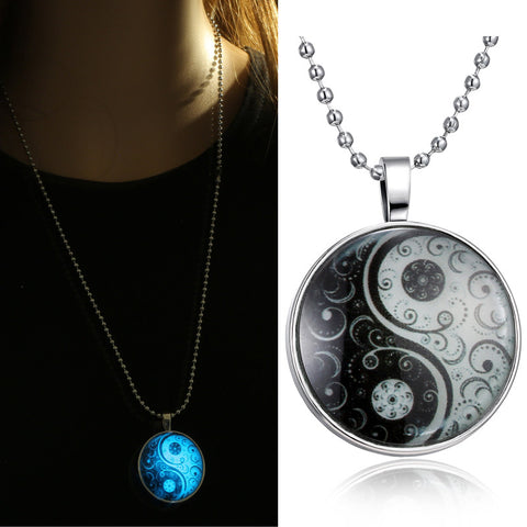 necklaces Glass Necklace Jewelry glowing necklaces for women men New Glow in the dark necklace Yin Yang Pendants - Hespirides Gifts