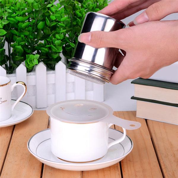 Multifunctional Stainless Steel Chocolate Shaker Cocoa Flour Salt Powder Icing Sugar Cappuccino Coffee Sifter Lid Cooking Tools