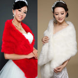 Hot Lady Noble Long Faux Fur Wedding Bridal Exquisite Shawl Stoles Wraps Cape Red Beige - Hespirides Gifts - 1