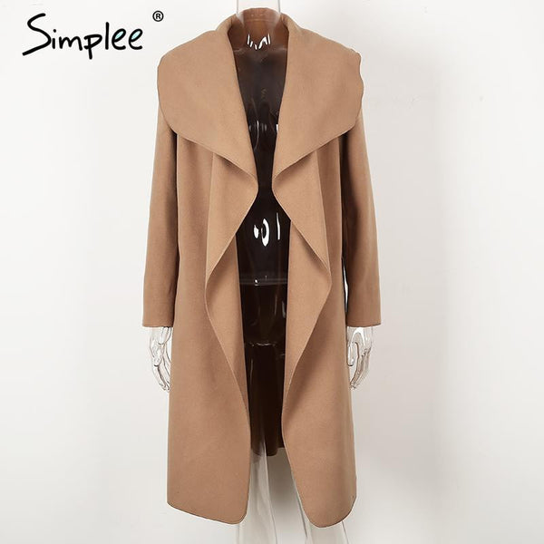 Simplee Black ruffle warm winter coat Women turndown long coat collar overcoat female Casual autumn 2016 pink outerwear