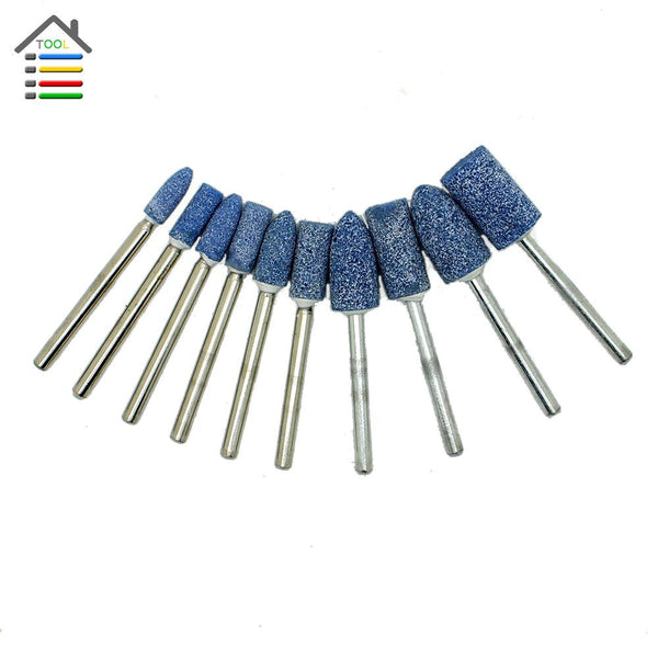New 10pc Blue Abrasive Mounted Stone Set Rotary multi Tool Grinding Burr Wheel 1/8 Shank For Dremel Grinder Power Tools