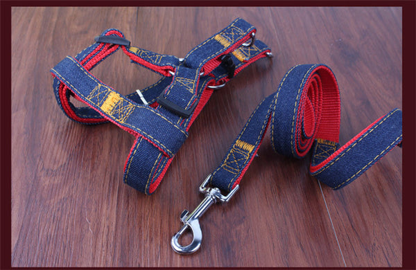 New Arrival Hot Sales S L XL Colorful Jean Denim Leash Harness Dog Collar Chain Cat rope belt adjustable collar dogs PG08 - Hespirides Gifts - 3