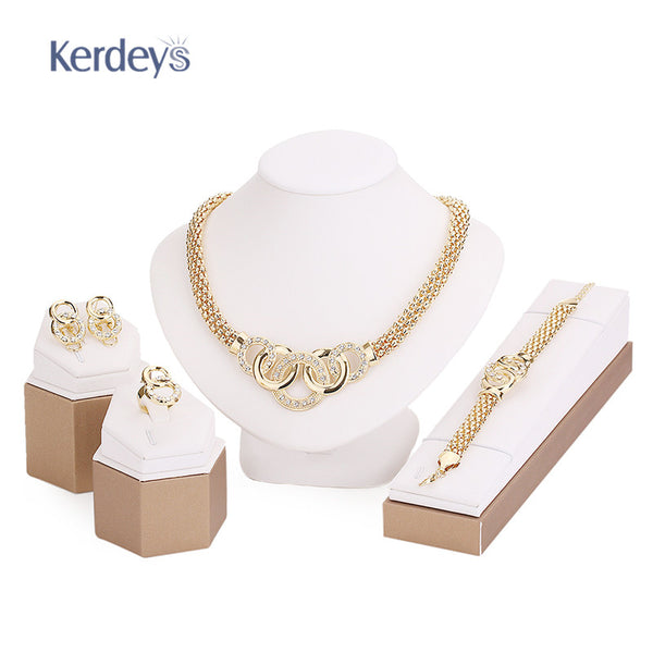 Party Accessories Wedding Jewelry Sets For Women Pendant Statement African Beads Crystal Necklace Earrings Bracelet Fine Rings - Hespirides Gifts