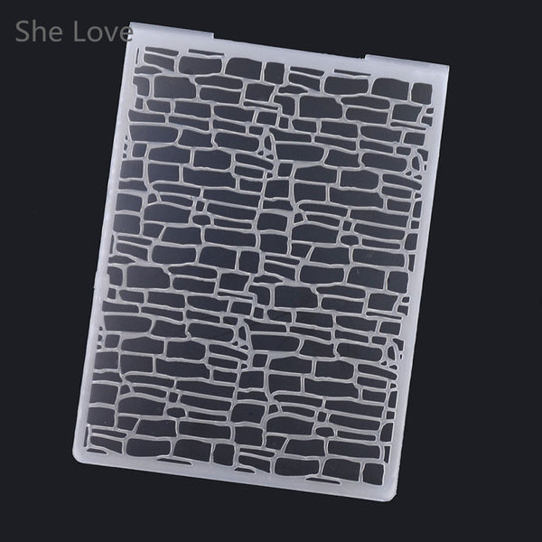 Plastic Embossing Folder For Scrapbooking Irregular Bricks Type Photo Album Card Paper Craft Template