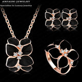 Top Seller Jewelry Set 18K Rose Gold Plate Austrian Crystal Enamel Earring/Necklace/Ring Flower Set Choose Size of Ring ST0002-A - Hespirides Gifts - 1