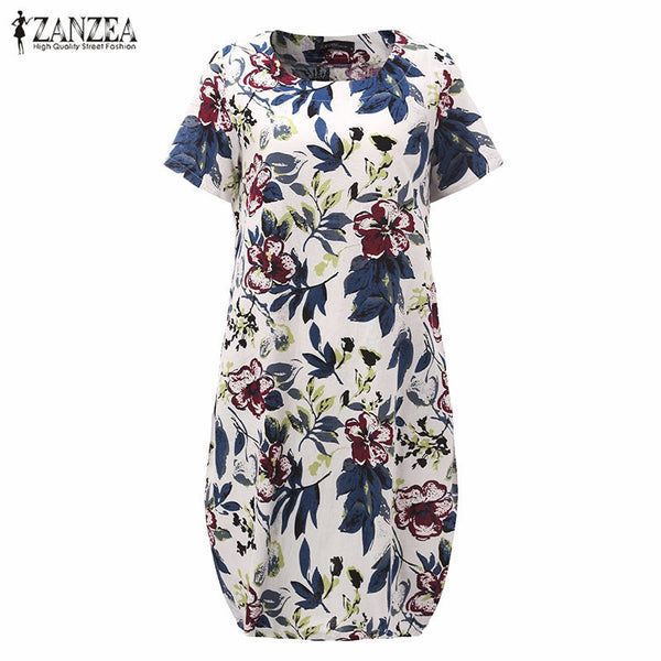 Hot Sale 2016 Summr ZANZEA Women Vintage Floral Print Dress Short Sleeve Loose Casual Midi Sexy Dress Vestidos Plus Size
