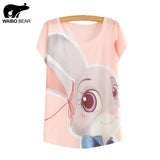 WAIBO BEAR zootopia New Women's T-shirt summer tees top Thin style Cute rabbit Judy print batwing sleeve T shirts women - Hespirides Gifts - 1