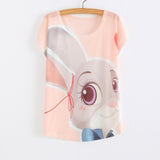 WAIBO BEAR zootopia New Women's T-shirt summer tees top Thin style Cute rabbit Judy print batwing sleeve T shirts women - Hespirides Gifts - 13