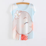 WAIBO BEAR zootopia New Women's T-shirt summer tees top Thin style Cute rabbit Judy print batwing sleeve T shirts women - Hespirides Gifts - 5