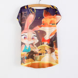 WAIBO BEAR zootopia New Women's T-shirt summer tees top Thin style Cute rabbit Judy print batwing sleeve T shirts women - Hespirides Gifts - 6