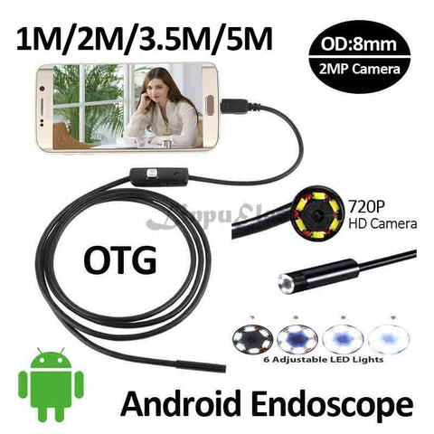 HD720P 2MP Android OTG USB Endoscope Camera 8mm 5M 3.5M 2M 1M Flexible Snake USB Pipe Inspection Borescope Android USB HD Camera