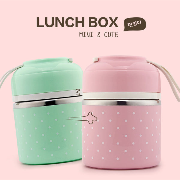 buy portable cute mini japanese bento box thermal insulation leak proof stainless steel lunch. Black Bedroom Furniture Sets. Home Design Ideas