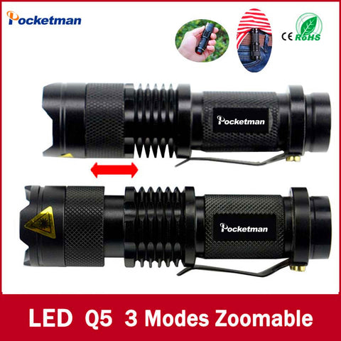 high-quality Mini Black Brand 2000LM Waterproof LED Flashlight 3 Modes Zoomable LED Torch penlight - Hespirides Gifts