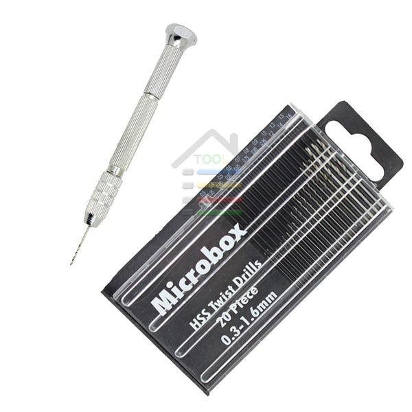 HSS Micro Twist Drill Bits Set 0.35-1.6mm High Speed Steel PCB Mini Drilling Jewelry Hand Tools With Swivel Head Pin Vise