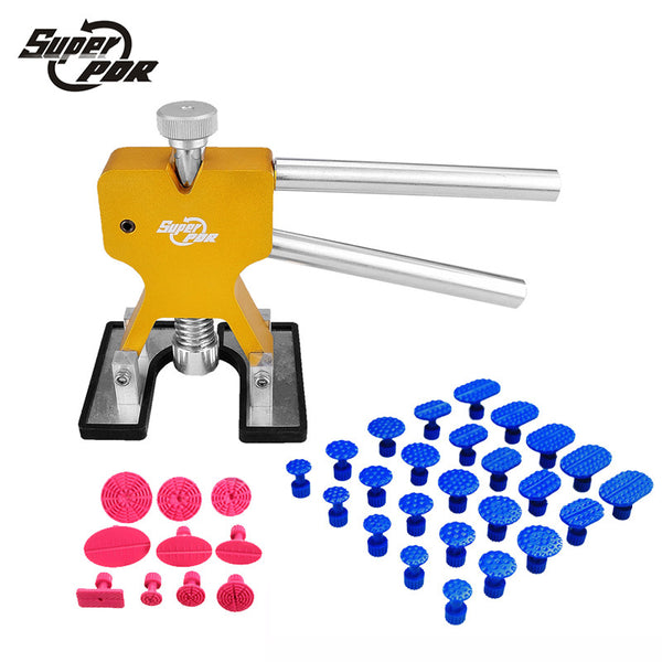 Professional Hand Tool Sets Super PDR Tools Kit  High Quality Car Paintless Dent Repair Tools Set Gold Dent Puller Glue Tabs