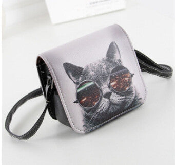 Vogue Star! Bolsos Carteras Mujer Marca Women PU Leather Cat Wearing Glasses Print Messenger Handbag Women Bag YA40-207 - Hespirides Gifts - 4