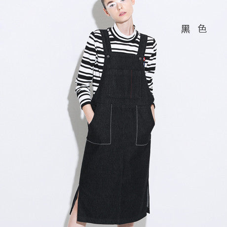 Toyouth 2017 New Arrival Women Spring Strap Dress Fashion Solid Jean Sleeveless Dress Female Slits Pocket Strap Dresses