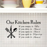 Kitchen Rules Living Room Kitchen Vinyl Wall Stickers for Kids Room Lettering Art Quote Decals Home Poster Sofa Wall Decoration - Hespirides Gifts - 2