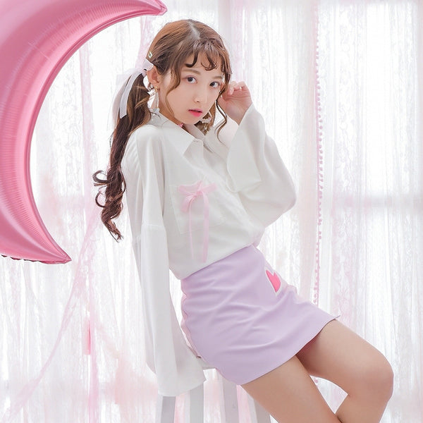 Mori Girl Women Blouses Japanese Print Cartoon Pegasus Bow 2017 Spring XS-L Flare Sleeve Sweet Cute Simple White Color Tops