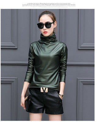 Plus size 4XL t-shirts women harajuku sexy long sleeve Turtleneck velvet t shirt female tops american apparel PU Leather t shirt